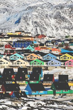 The lands may not be green but that doesn't mean the houses aren't. For a colorful view, check out Ilulissat in Greenland.