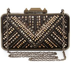 BCBGMAXAZRIA Isidora Jewel Embellished Clutch ($188) ❤ liked on Polyvore featuring bags, handbags, clutches, black, jeweled handbags, studded purse, bcbgmaxazria, embellished purses and chain handle handbags
