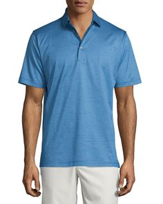 Fine-Stripe Lisle-Knit Polo Shirt, Blue - Peter Millar