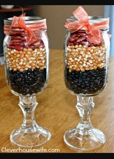 Cute way to decorate get some mason jars and fill the them with different types of seeds