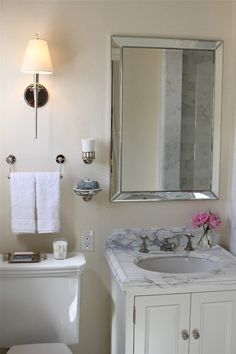 Josephine Fisher: Stunning traditional bathroom with Restoration Hardware Venetian Beaded Mirror, Newell ...