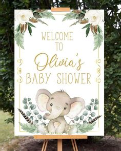 Home Decor Accessories Printable Gold Elephant Baby Shower Welcome Sign - Announce It!Home Decor Accessories Printable Gold Elephant Baby Shower Welcome Sign - Announce It! Baby Shower Cricut, Idee Baby Shower, Fiesta Baby Shower, Baby Girl Shower Themes, Baby Shower Signs, Gender Neutral Baby Shower, Baby Boy Shower, Flowers For Baby Shower, Baby Shower Green