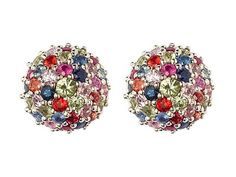 Matthew Campbell Laurenza - Multi-colored sapphire silver stud earrings ~ GBP£ 425
