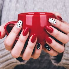21 Unique Acrylic Nail Designs to Make Your Look Unforgettable ★ Polka Dots Nail Designs for a Cute Look Picture 3 ★ See more: http://glaminati.com/acrylic-nail-designs/ #acrylicnails #acrylicnaildesigns