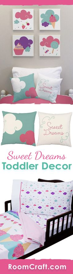 Dream of sweet treats with these fun ice cream bedroom decorations! This colorful design is available on throw pillows, canvas wall art, and toddler bedding. They are perfect for a complete room make over or choose one or two to add the finishing touches to your little one's sweet bedroom. Make decorating fun and easy with these cute home decor products. #roomcraft