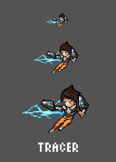 [Pixel Art] - Tracer / Lena Oxton Overwatch Sprite Twitter:  pic.twitter.com/oFKvdCU5WL