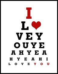 I heart you eye chart
