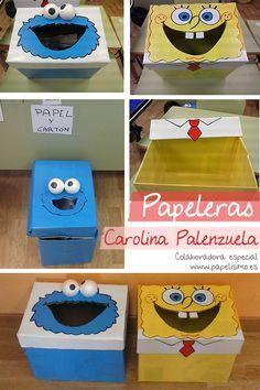 manualidades faciles papelera con cajas de cartón