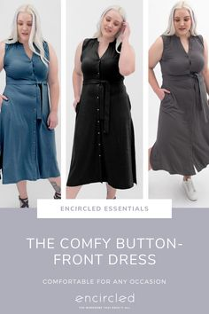 Comfortable for any occasion. An elegant cut made from soft, pyjama-like fabric, The Comfy Button-Front Dress will take you from day to night with ease. Featuring a modest V-neckline, removable belt and chic side slits, this shirt dress can be dressed down or up and layered for any season. Cozy Aesthetic, Button Front Dress, Striped Fabrics, Fashion Company, A Line Skirts, Capsule Wardrobe, Sustainable Fashion, Spring Outfits, Fashion Dresses