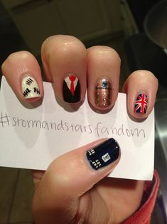 Doctor Who Nail Art. LOVE the index finger! I think that'd be a wicked cool DW tattoo also.