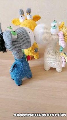 Amigurumi CROCHET PATTERNS toys Giraffe, Unicorn and Donkey Crochet Unicorn Pattern, Giraffe Crochet, Crochet Mouse, Crochet Animal Patterns, Amigurumi Patterns, Crochet Animals, Handmade Toys, Handmade Ideas, Crochet Patterns For Beginners