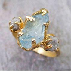 Raw Uncut Aquamarine Diamond Gold Engagement Ring Wedding Ring Custom One Of a Kind Gemstone Ring Bespoke Three stone Ring by Angeline  Raw rough