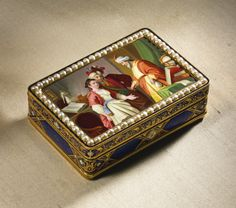 A GOLD ENAMEL AND PEARL MUSICAL AUTOMATON SNUFF BOX WITH TWO TUNES AND WATCH WITH CENTER SECONDS  FOR THE CHINESE MARKET ATTRIBUTED TO PIGUET & MEYLAN, AND THE BOX PROBABLY RÉMOND, LAMY, MERCIER & CO., GENEVA, CIRCA 1815