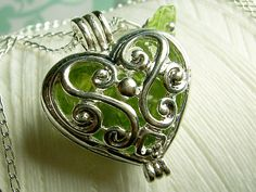 Worry Locket - peridot gemstones in heart locket sterling silver necklace on Etsy, $28.00