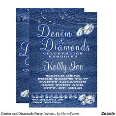 Denim And Diamonds Party Invitations Zazzle Diamonds with Diamond Invitations - Party Supplies Ideas Custom Party Invitations, Retirement Party Invitations, Bachelorette Party Invitations, Birthday Invitations Kids, Create Your Own Invitations, Zazzle Invitations, 50th Birthday, Invitation Ideas, Invitation Templates