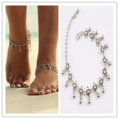 New Charm Anklets for Women Vintage Foot Jewelry Ancient Silver Plated Flower Ankle Chain Bracelet 1PC 1K3013