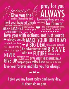 Wedding Vows Typography by BisforBrown on Etsy, $45.00