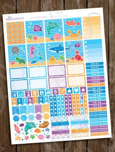 Sea Creatures Weekly Planner Stickers | PRINTABLE Instant Download | Ocean Stickers | EC Weekly Stickers | Summer Vacation | Erin Condren by ellums on Etsy