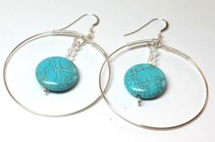Turquoise Crystal Coin Gemstone Large Hoop Wire Wrapped One of a Kind Blue Earrings.