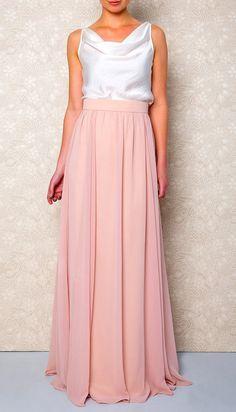Long Light Pink Chiffon Skirt Maxi Skirt tutu skirt