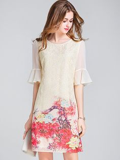 Vintage embroidery o-neck puff sleeve bodycon dress - Bodycon Dresses Dresses For Teens, Trendy Dresses, Casual Dresses, Short Dresses, Formal Dresses, Embroidery Dress, Vintage Embroidery, Dress Outfits, Fashion Dresses