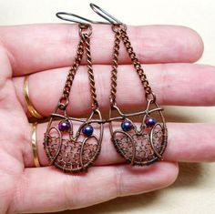 Sweet Copper Wire Wrapped Owl Earrings; by AnnaWireJewelry on Etsy