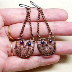 Copper Wire Wrapped Owl Earrings