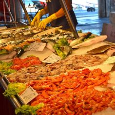 Sunday is a great market day, and in Venice there's not much better than the fresh seafood. Taste it for yourself when you travel with Messenger Travel. #venice #venezia #italy #italia #food #seafood #travel #market #vacation #messengertravel