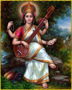 God number 25 goddess of knowledge and music and wife of Brahma saraswati devi Saraswati Mata, Saraswati Goddess, Lord Saraswati, Saraswati Photo, Orisha, Indian Goddess, Lord Vishnu Wallpapers, Image 3d, Hindu Deities