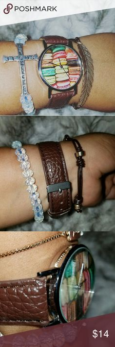 Macaroons Wrist Watch Silver hardware brown watch. Fashionable and looking yummy. Any questions let me know. NO TRADES. Hit me a reasonable offer. See pictures for letter description. Be a trendesetter. Fall ready. lilianbarillas Accessories Watches