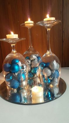 Here are easy Christmas decoration ideas which are within your budget. These dollar store Christmas decor ideas are cheap DIY Frugual Decorations for Xmas. Christmas Candle Decorations, Wall Christmas Tree, Christmas Bathroom Decor, Beautiful Christmas Decorations, Christmas Tables, Winter Centerpieces, Colorful Christmas Tree, Turquoise Christmas, Blue Christmas Decor
