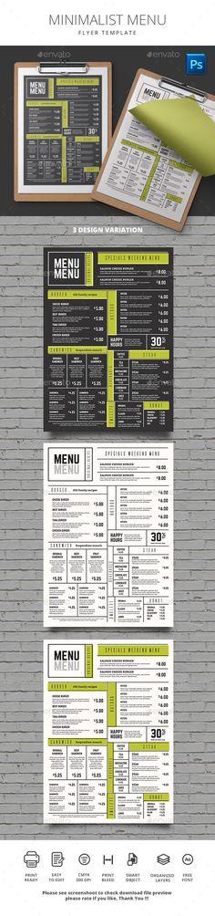 Minimalist Menu - Food Menus Print Templates Download here : https://graphicriver.net/item/minimalist-menu/19566072?s_rank=54