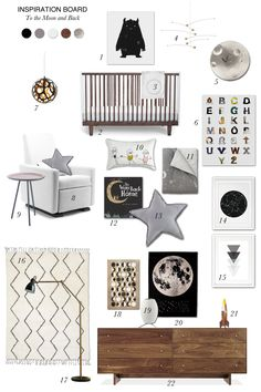 Kids Room Style Board: To the Moon and Back, neutrals, space theme, greys