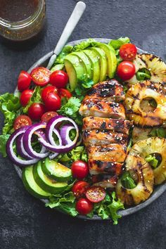 Grilled pineapple, avocados, cilantro, and the BEST teriyaki vinaigrette turn this grilled teriyaki chicken salad into a hearty and tasty meal you'll put on repeat all summer long. Teriyaki Chicken Salad, Grilled Chicken, Teriyaki Sauce, Pollo Teriyaki, Salad Chicken, Chicken Skewers, Lime Chicken, Tuna Salad, Spinach Salad