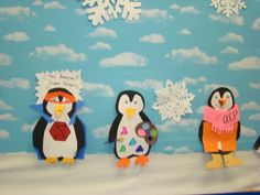 Rosemary made the cute polar bear bulletin bds in our library  so my kids made the penguins to add their own personal touch to it!  We had so much fun!