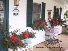 """Click through for a number of photos and ideas (both temporary and permanent; building on Christmas decorations and not) for """"Valentine Decorations For Your Porch."""""""
