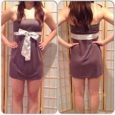 Mini Dress NWT. Adorable gray strapless dress with silver polka dots. Removable silver sash to tie either in the front or back. Second picture reflects true color. Dresses Mini