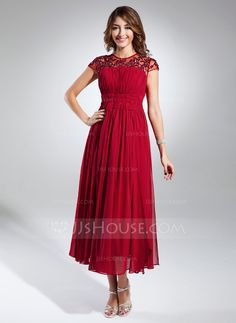 A-Line/Princess Scoop Neck Tea-Length Ruffle Beading Appliques Lace Zipper Up at Side Sleeves Short Sleeves No Burgundy Winter Spring Summer Fall General Plus Chiffon Homecoming Dress