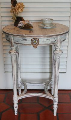 Shabby Chic Round Side Table 1930s by RevisitedConcepts on Etsy