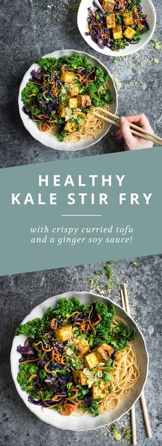 A healthy kale and carrot stir fry with crispy curried tofu! (Vegan Sauce Stir Fry)