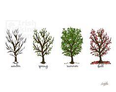 Four Seasons Trees 8x10 original by IrishVikingDesigns on Etsy, $25.00