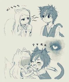 Fairy Tail Happy x Carla neko people
