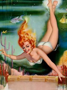 Art Frahm-Going Down Canvas//Paper Print Pinup Girl