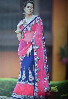 Pink and Dark Blue Color Half Net and Half Velvet One-Minute Designer Sarees : Gehana Collection YF-21627
