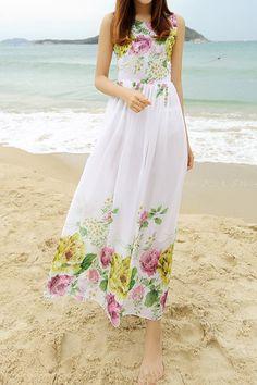 Bohemian Scoop Neck Flower Print Sleeveless Chiffon Dress For Women
