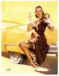 #vintage #pinup #girl #art #car