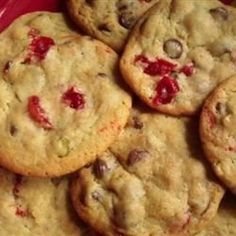 This is an Italian-inspired twist on an American tradition. My family loves spumoni ice cream, so I decided I'd try to alter my chocolate chip recipe to fancy them. In this creation, cherries and pistachios liven up already delicious chocolate chip cookies.