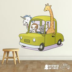 Vinilo infantil WAWAWIWA: Coche cargado de animales #vinilo #decoracion #wawawiwa #pared #infantil #habitacion #unicornio #jirafa #toki #ronco #TeleAdhesivo Toy Chest, Storage Chest, Family Guy, Toys, Animals, Fictional Characters, English, Google Search, Wall Stickers
