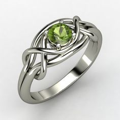 Infinity Knot Ring - Round Green Tourmaline Sterling Silver Ring | Gemvara