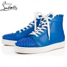 f243e12549cd Cheap Christian Louboutin Shoes Men Sneakers Louis High Top Blue Wholesale